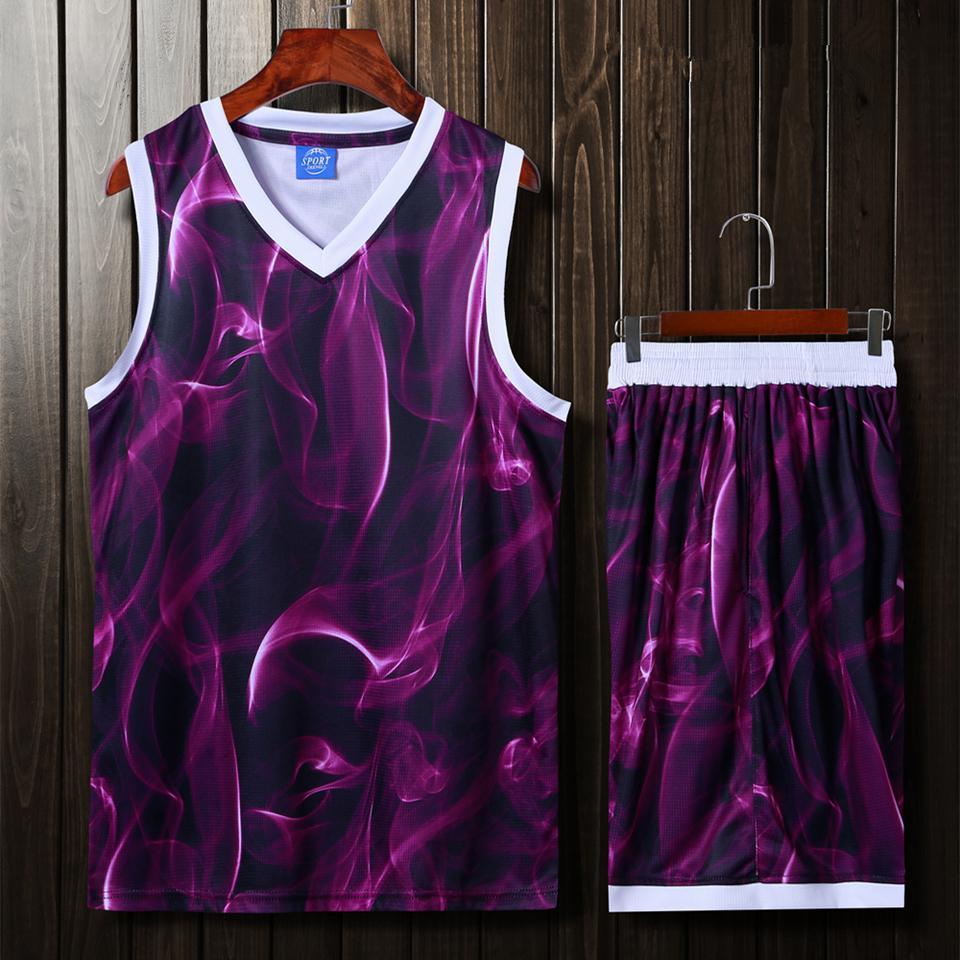 Мужчины Женщины Баскетбол футболки, красочные комплекты форменной спортивный комплект одежды шорты рубашки костюмы боковыми карманами DIY пользовательских печать нарисовать C18122501