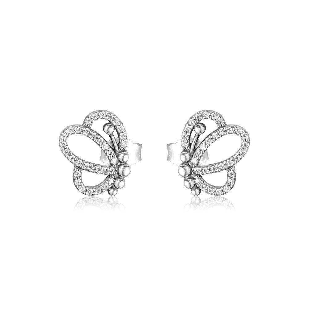 2019 Spring earrings 925 Sterling Silver Butterfly Described Stud Earrings For Women European Style Jewelry Original Fashion