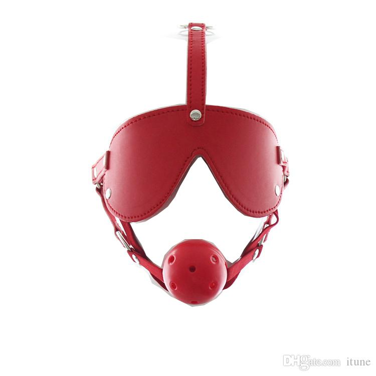 Red Leather Harness Hollow Hard Ball Gag and Blind Eyepatch Fetish Bondage Head Harness Mask Adult SM Restraint Roleplay Game Sex Toys