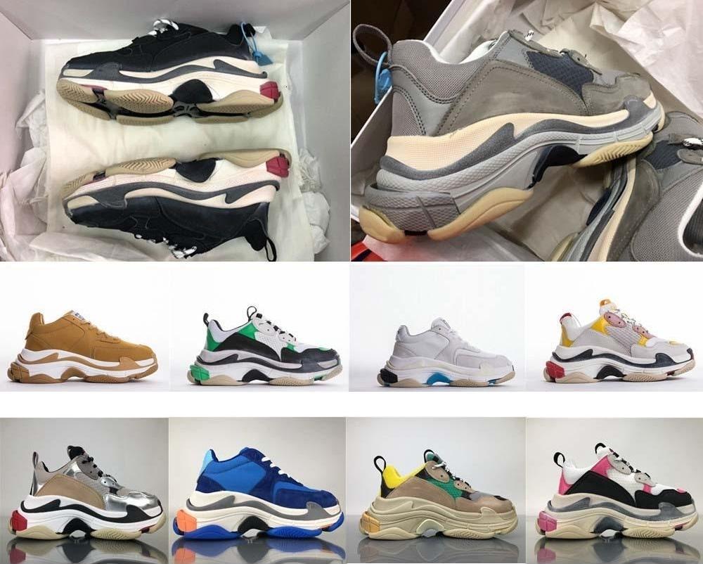 Yeni Geliş Yüksek Kalite Tanıttı Yeni Üçlü S Sneakers Moda Spec Eğitmenler Kadın Erkek İşkembe-S T Eğitim Sneakers Ayakkabı boyutu 36-45