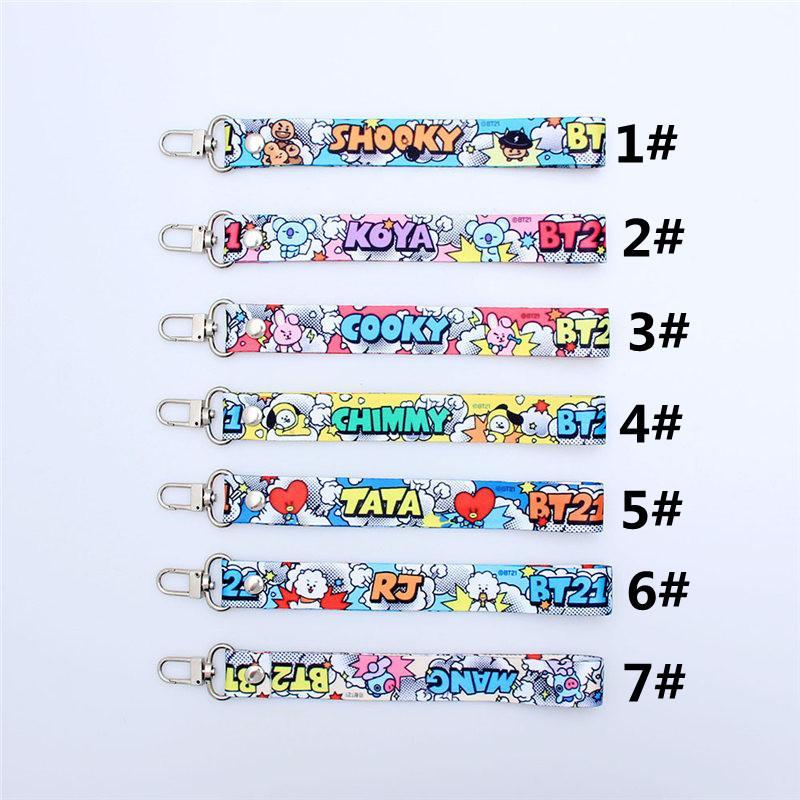 BTS Llavero conocido bar de la historieta linda del teléfono celular llavero colgante de cuerda de Bolsa Streamer Universal Key Accesorios hebilla anillo 7 estilos