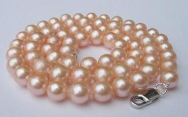 El collar libre del envío ++ gran tamaño natural de 10-11mm collar de perlas de color rosa de la joyería NUEVO