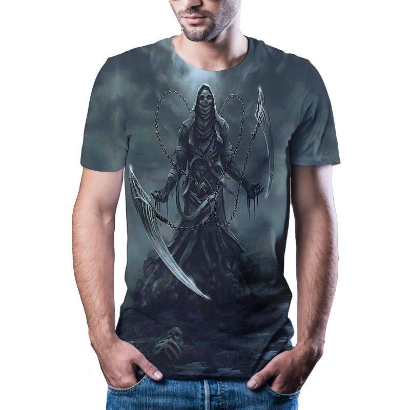 Erkekler T-Shirt 2021 Son Korku Kafatası 3D Baskı Serin T-Shirt ve Kadın Kısa Kollu Yaz Top Anime Fa