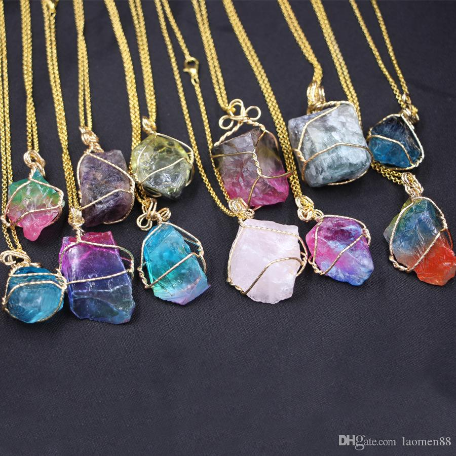 Best selling new original stone necklace pure natural crystal amethyst powder crystal pendant multicolor irregular natural stone ornaments