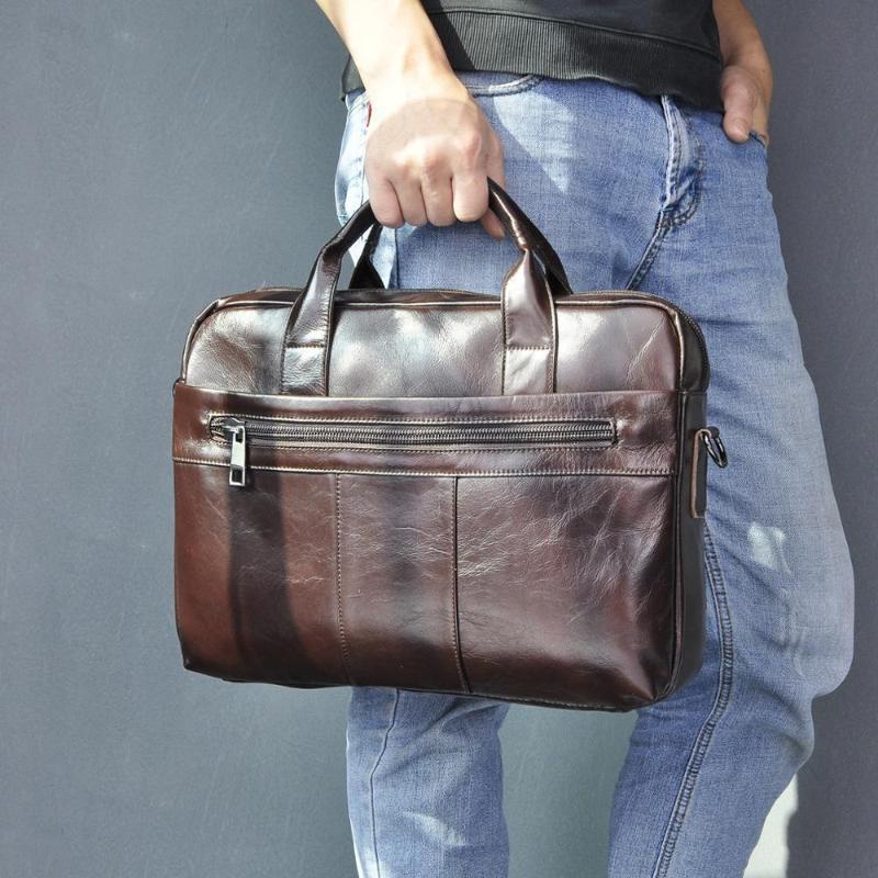 """Moda Tote Laptop Coffee Design Business Briefcase 15 """"Portfolio cereale Portfolio Leather Agageche Borsa a tracolla Caso di olio 9022-B GXFFU"""