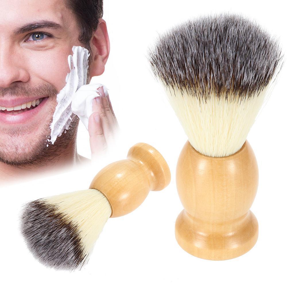 عالية الجودة الرجال المهنية في فرشاة حلاقة مع مقبض خشبي نايلون بيور للرجال الوجه تنظيف الحلاقة قناع التجميل أداة