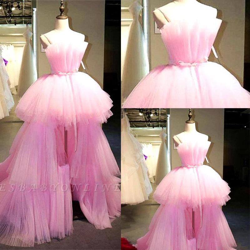 2020 sin tirantes de tul rosa un barrido larga línea de vestidos de baile capas de volantes Alto Bajo tren formal vestidos de noche Vestidos de Fiesta BC2894