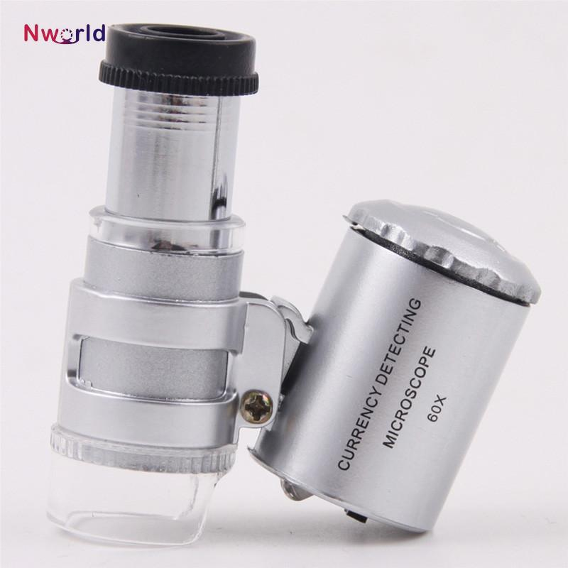Handheld 60X Jeweler Loupe Mini Magnifiers Microscope with LED Light Jewelry magnifying glass magnifier Jewelry Loupes Free Shipping