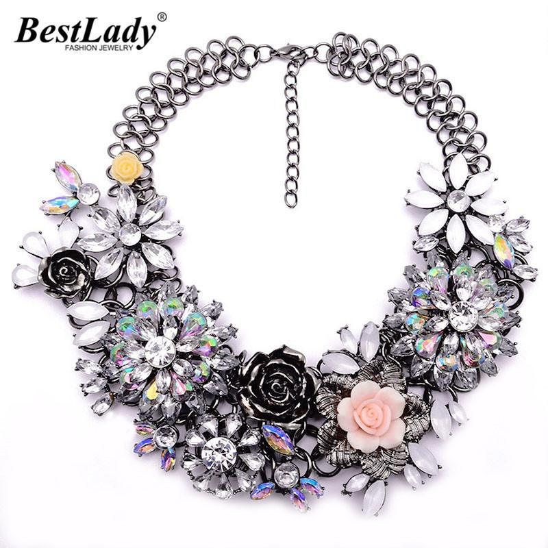 Best Lady Fashion Luxury Crystal Flower Clear Za Big Brand Party Jewelry Statement Shourouk Chain Choker Collar Necklace B124 Y19050802