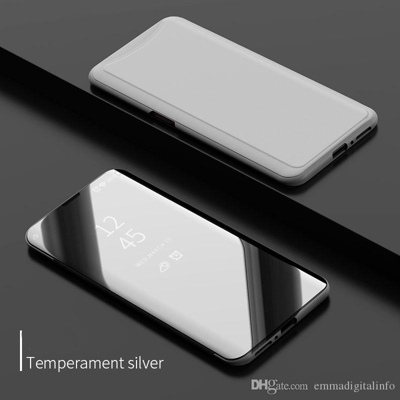 Luxury Mirror Clear View Case for OPPO Find X Phone Cover Plating Base Vertical Stand