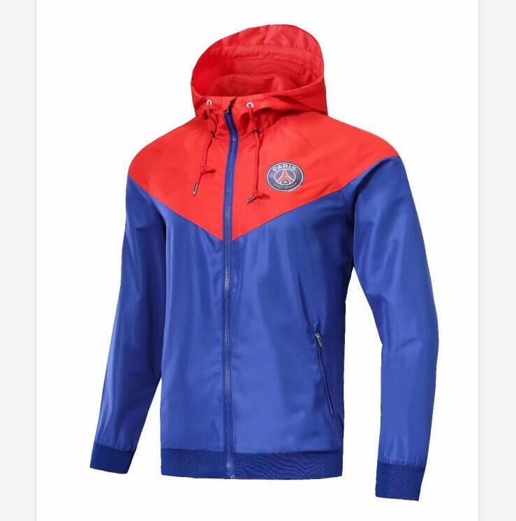 18 Estilos equipo de fútbol chaquetas de primavera 2020 Diseñador chaqueta de fútbol rompevientos con capucha de la cremallera Deporte de Abrigo para Hombre