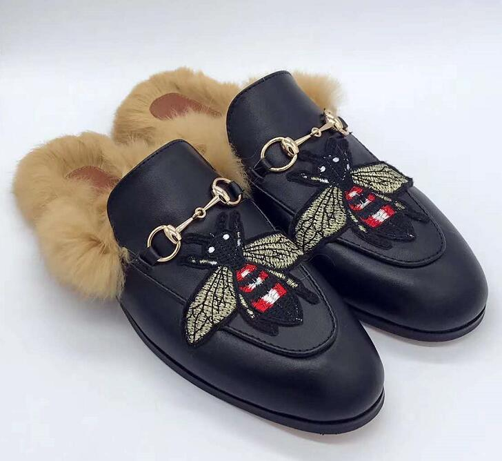 2020 Männer Designer Pantoffeln Marke fur Prince lässig Schuh Frauen aus echtem Leder flach Pantoffeln Kaninchenhaar Schuhe