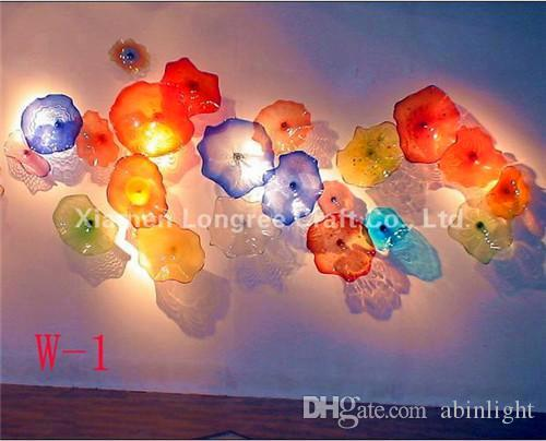 Free Shipping Antique Home Decor Glass Wall Art Plates Modern Creative Multi Color Blown Glass Wall Lamps Plates