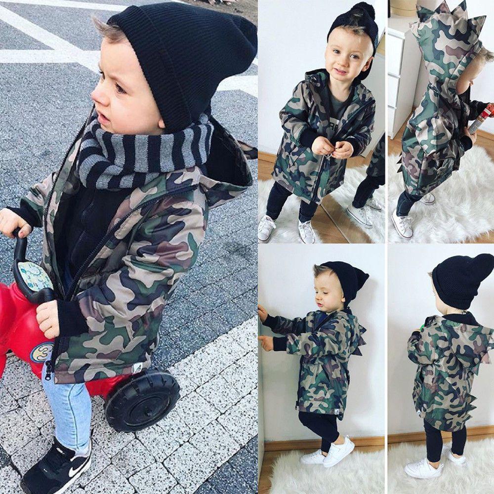 UK Infant Kids Baby Boys Camouflage Hoodies Dinosaur Zip Hooded Jacket Coat Tops