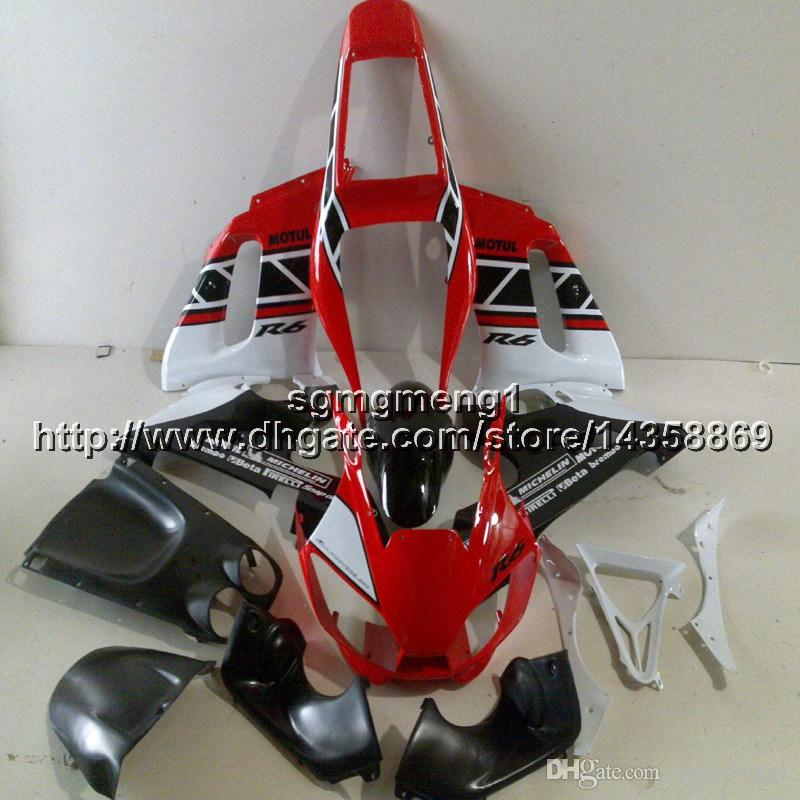 23colors+Botls+Gifts red white motorcycle article for Yamaha YZF-R6 1998 1999 2000 2001 2002 ABS Plastic motor Fairing