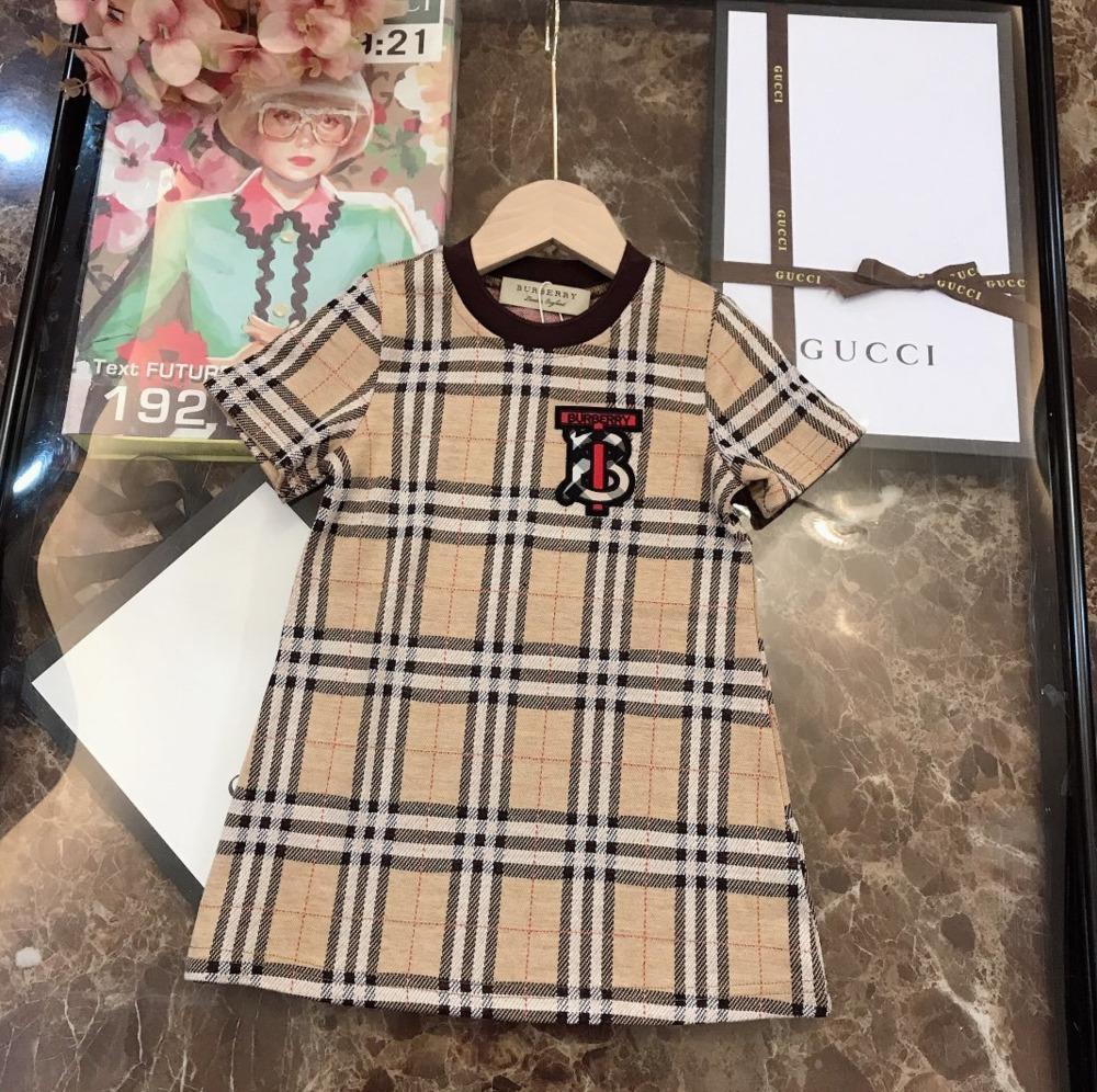 Été de haute qualité Filles Mode Loisirs Plaid imprimer robe à manches courtes 030906