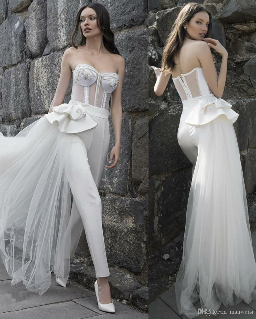 Querida uma linha vestido de noiva com destacável oversize lace applique beading jumpsuits tornozelo comprimento vestido de novia