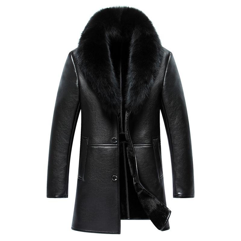 2019 Kış Yeni Orta Uzun Büyük Kürk Yaka Kış deri ceket Adam