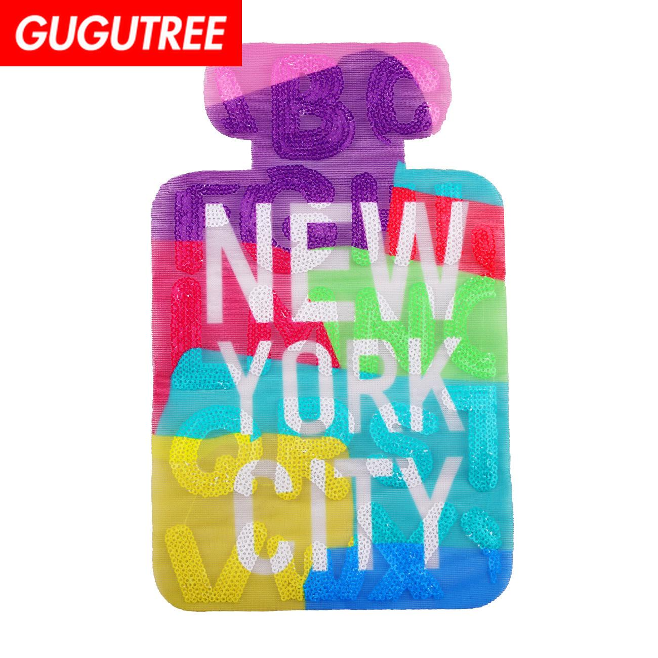 GUGUTREE Sequins embroidery big bottle patch cartoon patches badges applique patches for clothing JW-6