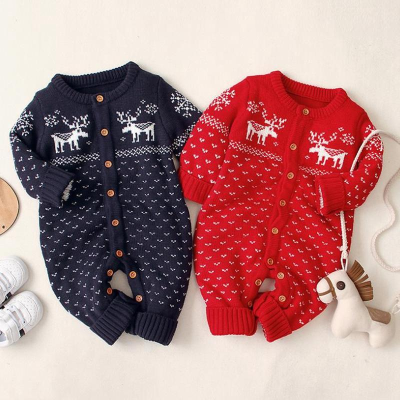 Knitted Baby Clothes Christmas Deer Infant Girls Rompers Long Sleeve Toddler Boy Jumpsuit Warm Newborn Playsuits Boutique Baby Clothing 4849