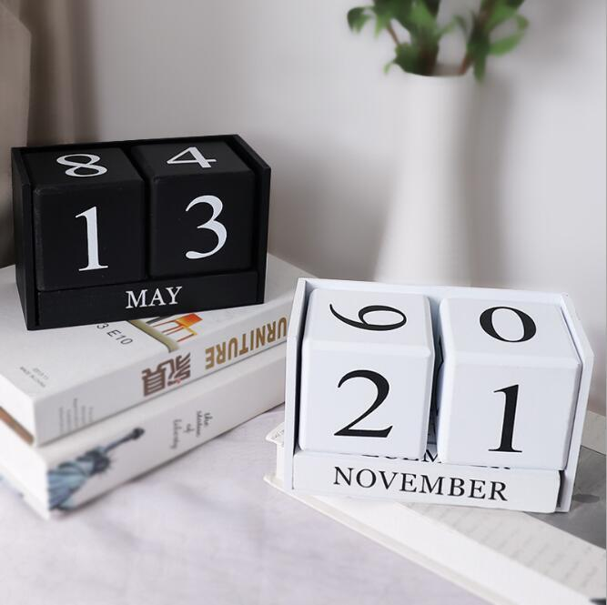Nordic Simple Wood Creative Calendar Sitting Room Home Handicraft Decoration Perpetual Calendar Office & School Supplies HA533