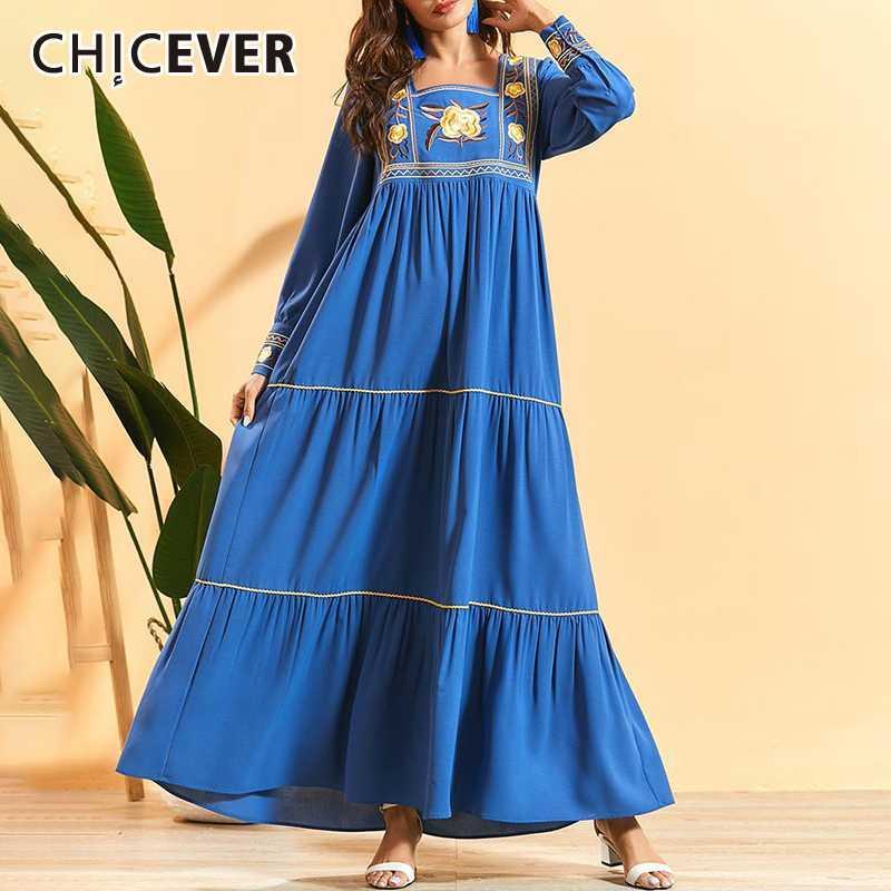 CHICEVER Elbise Kadın Nakış Baskı Kare Yaka Fener Kol Artı boyutu Gevşek Maxi Elbiseler Kadınlar 2020 Moda Yeni Giyim