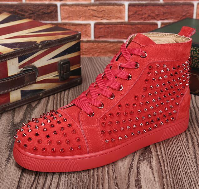 expédition de baisse nouvelle occasionnels de haute qualité haute Sneakers chaussures en cuir strass marche Casual, Hommes haute marche Haut Rouge Bas ShoeL14