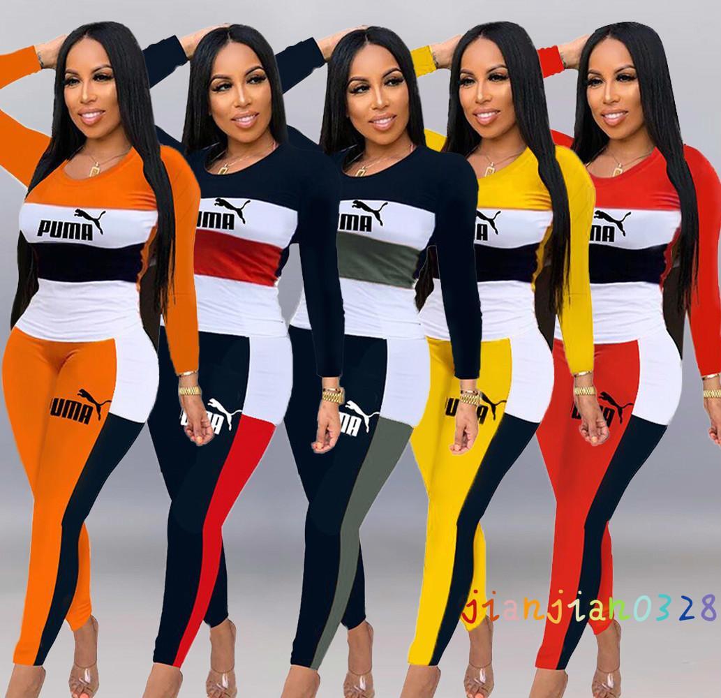 A6266 Europea y señoras de la manera estadounidenses alfabeto de color de contraste mujer de manga larga cuello redondo de dos piezas de las mujeres