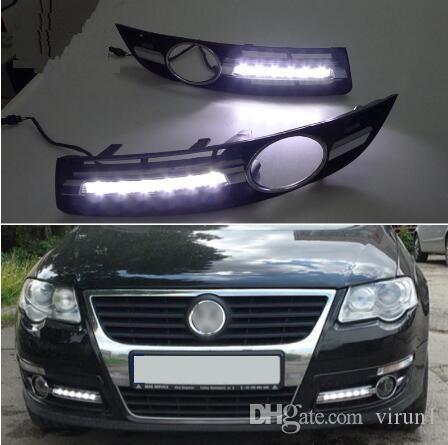السوبر مشرق للماء ضوء السيارة DRL LED أضواء النهار الجري مع ثقب مصباح الضباب لشركة فولكس فاجن فولكس فاجن باسات 2007 2007 2008