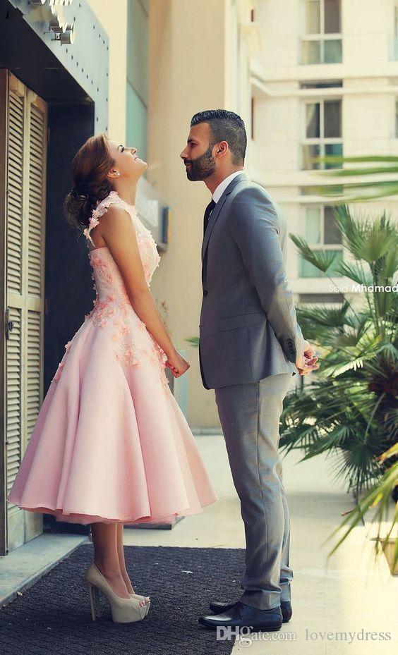 2020 Удивительные Blush Pink Свадебные платья длины чая ручной работы Цветы шнурка высокого шеи втулки крышки Африканский Черная девочка Свадебный прием Свадебный
