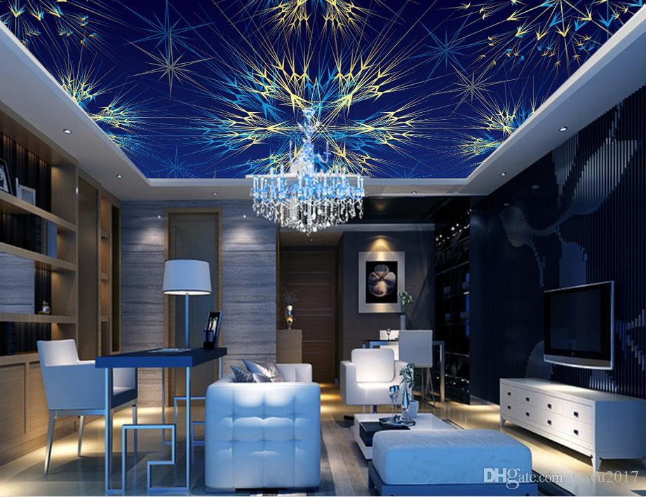 Custom PaintingBlue colorful spiral radiant fashioCeiling Wall Mural Disegni Moderni 3D Living Room Bedroom Soffitto Wallpaper Papel De Parede