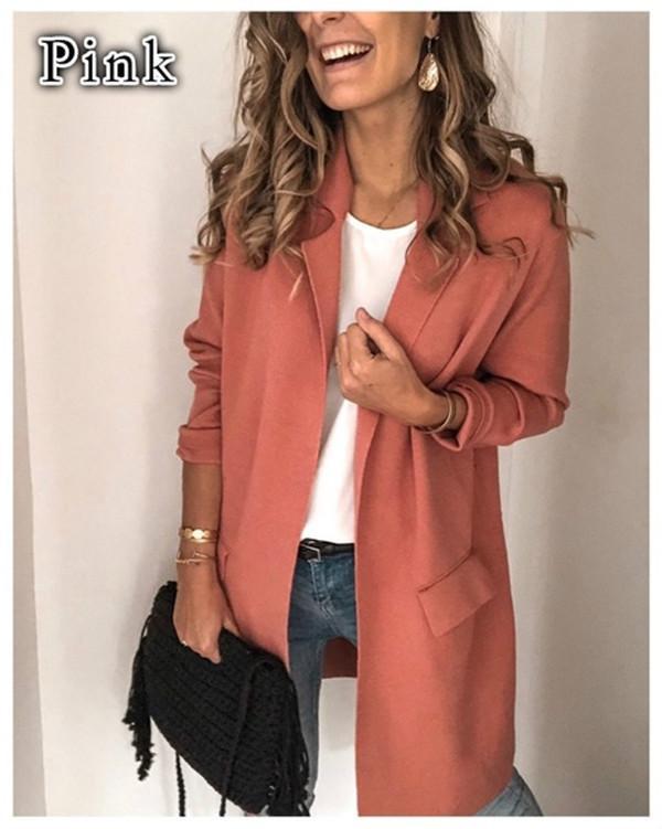 Gilet Femmes Vestes Automne Sexy Ladies Jackets New Solid Color Trajets manches longues cou pour femmes Casual Lapel Outerwears