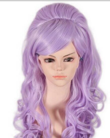 무료 배송 + + 천연 합성 머리 전체 가발 보라색 백작 파티 애니메 코스프레 가발