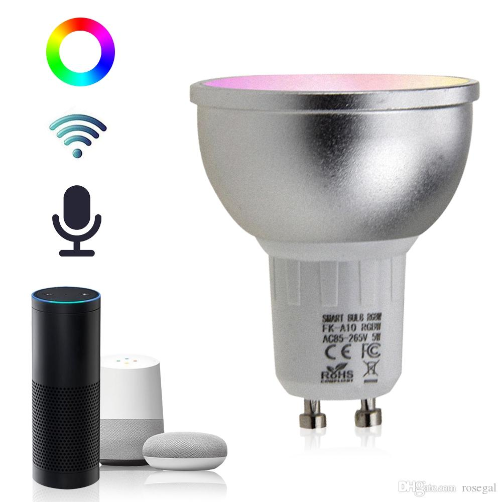 새 도착한 GU10 5W WiFi 스마트 APP LED 전구 Alexa 에코 가정 지원 AC85-265V와 함께 작동