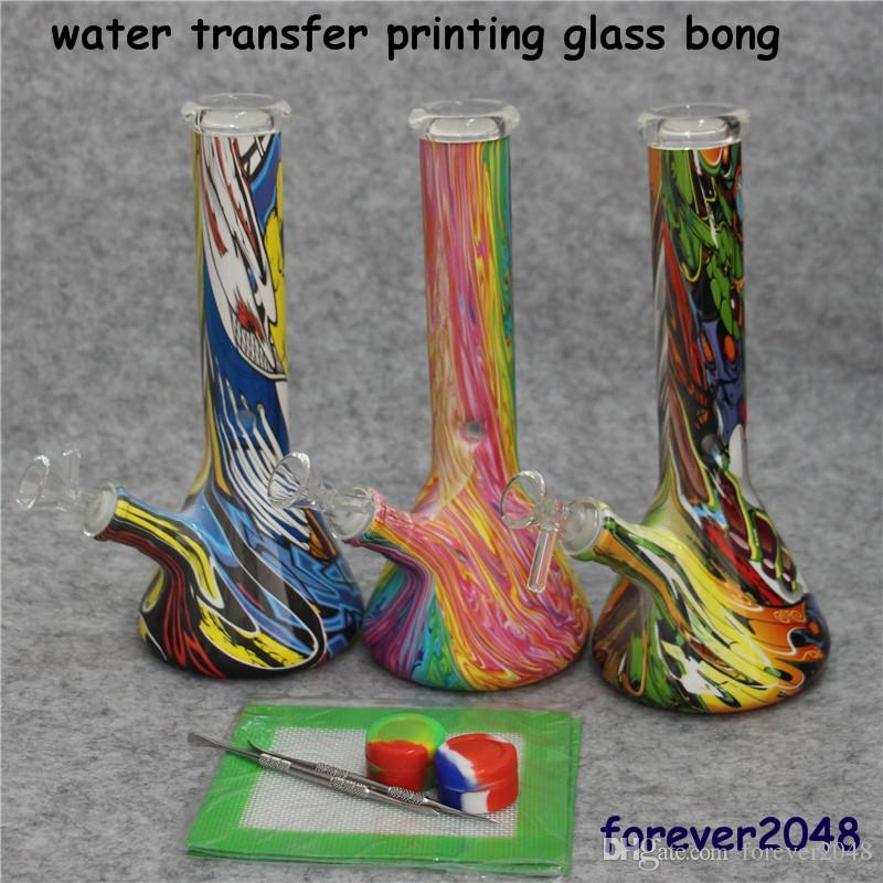 Bécher Bong 11 pouces de hauteur 14 mm Coloré avec bol de dépendance DAB Burnior Burneur Recycleur Huile Plateaux Rigital Bubbler Tuyaux de verre Bongs