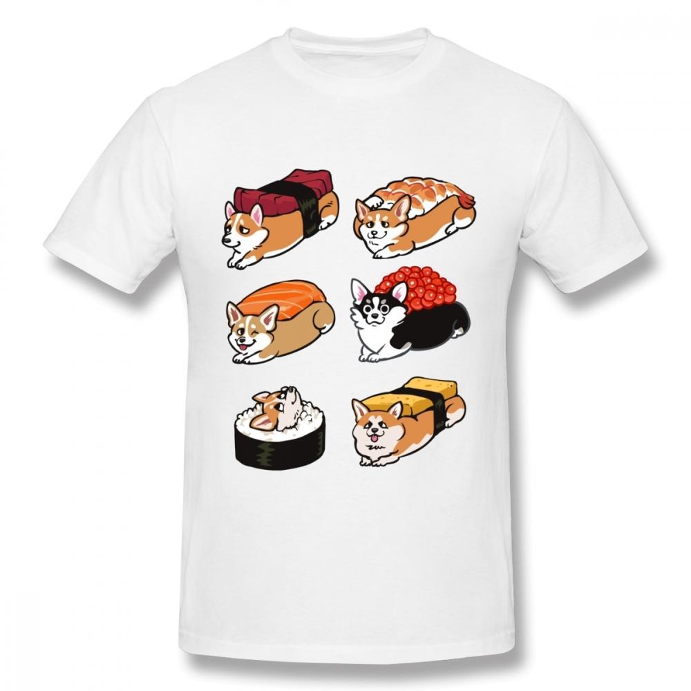 Yuvarlak Yaka 3D baskı suşi Corgi Tee erkek T gömlek Homme T gömlek artı boyutu Sıcak Satış yeni varış Tees