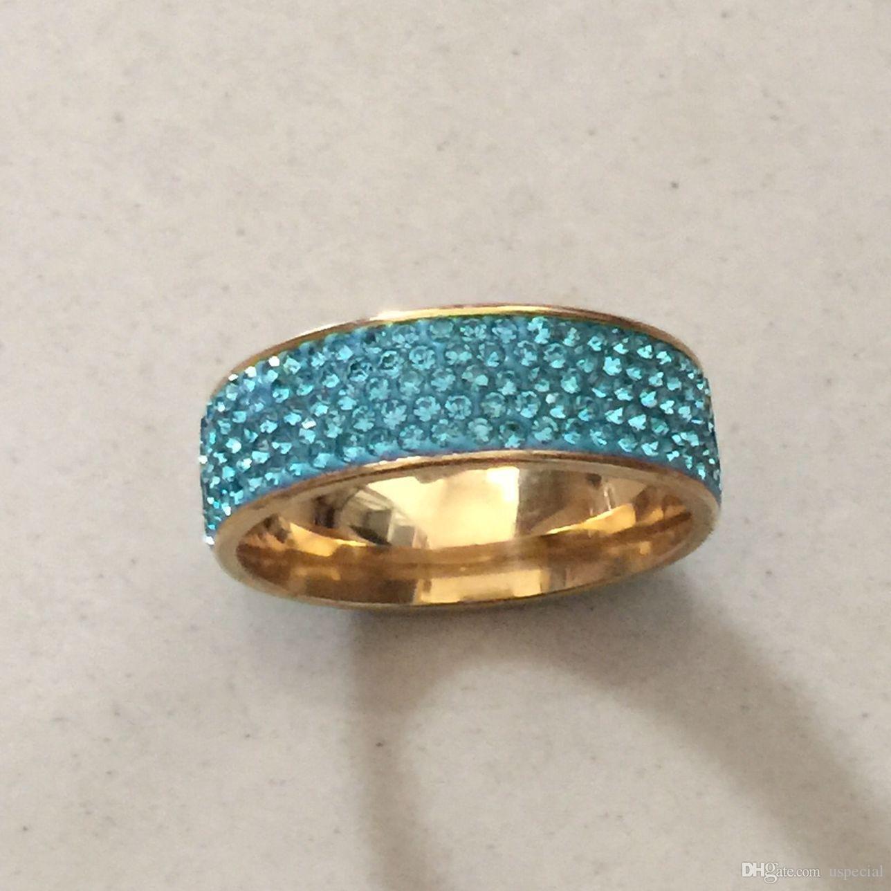 Поп высокое USpecial USpecial полных 5 строк синий кристалл алмаза ювелирные изделия Оптовая продажа из нержавеющей стали золото заполненные обручальные кольца для женщин девушки