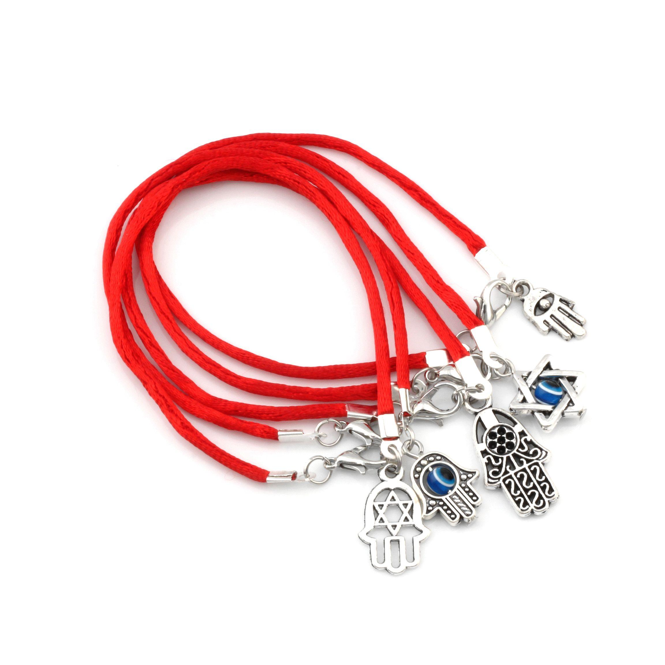 Hot Items 100Pcs Mixed Kabbalah Hände, Anhänger Red String Good Luck Armbänder Männer und Frauen Glück Armband