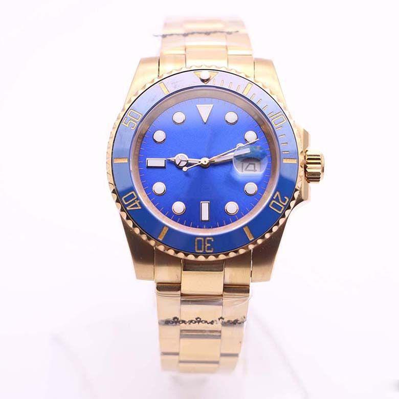 2813 Automatic Sapphire mecânica Luminous Noble Azul Dial 40MM Data Mens Relógios Assista giratórios Ceramic Bezel amarelas de pulso de ouro