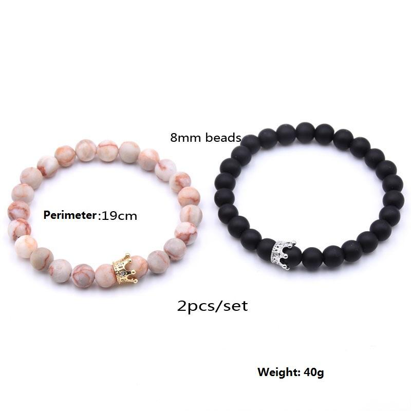 2019 Fashion 2Pcs / Sets Pietra naturale Bead Crown Charm Bracciale Set Uomo Donna Strand Bracciale gioielli fatti a mano Wristband