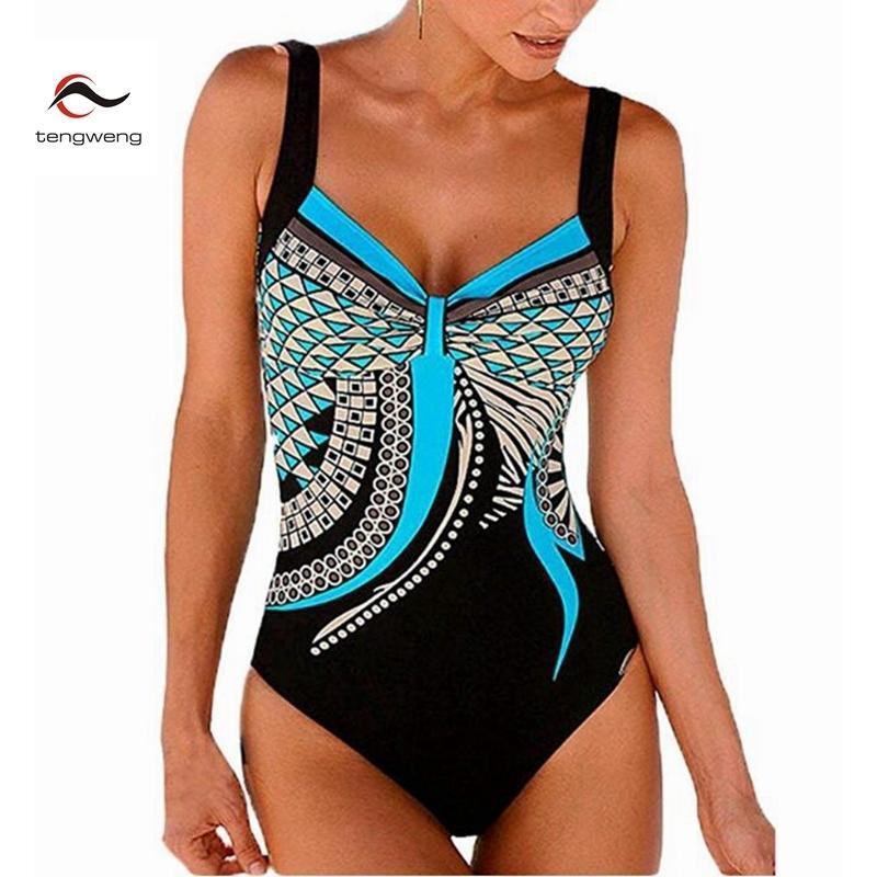 2019 Black Retro Print Floral Tankini Swimsuit Female One piece Swimwear women big size bandeau bathing suit sexy suit monokini