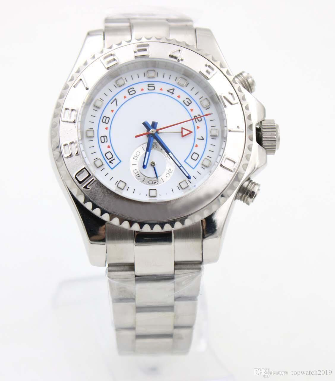 Mens Automatic High Quality White Dial Watches Siliver Leather Bands Sport 116689 Folding Clasp Men's Watches