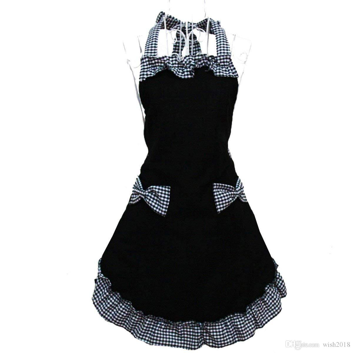Cute Retro Lovely Vintage Lady's Kitchen Fashion Flirty Women's Aprons with Pockets Black Patterns for Mother's Day Gift