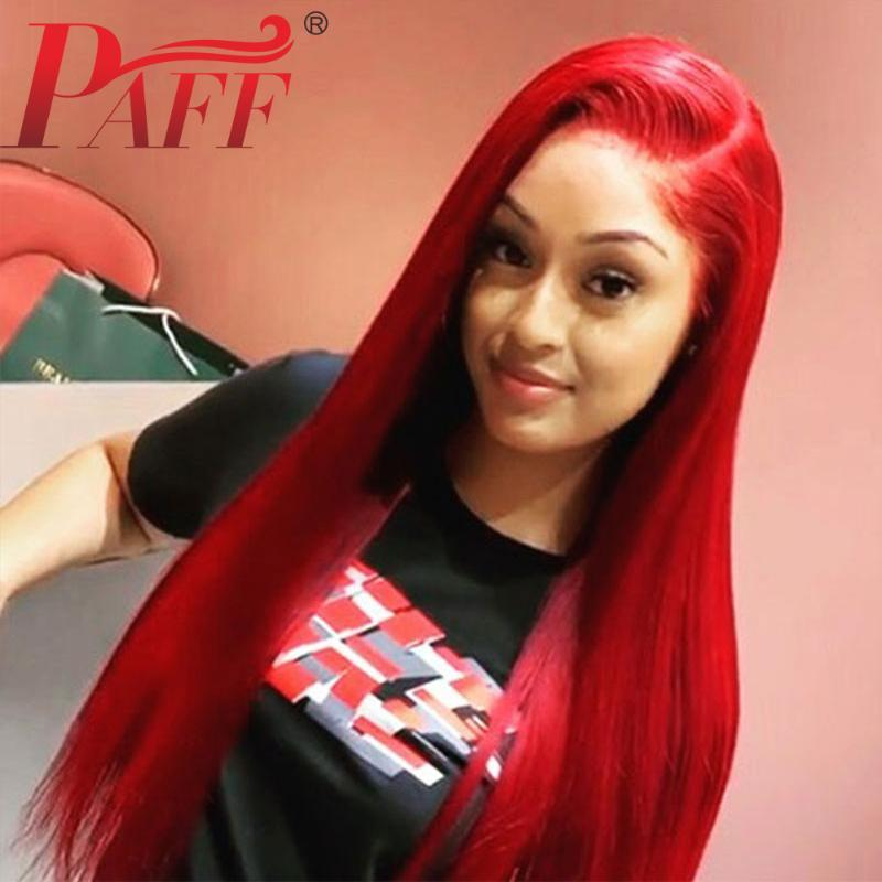 Paff Rojo recta pelucas del frente del cordón para las mujeres Negro peluca de encaje larga sintética del pelo pelucas parte libre a prueba de calor con el pelo del bebé