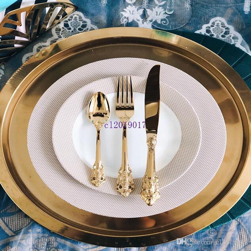Vintage Batı Altın Kaplama Çatal Yemek Bıçaklar Çatal Çay kaşığı Set Altın Lüks Sofra Gravür bulaşığı seti