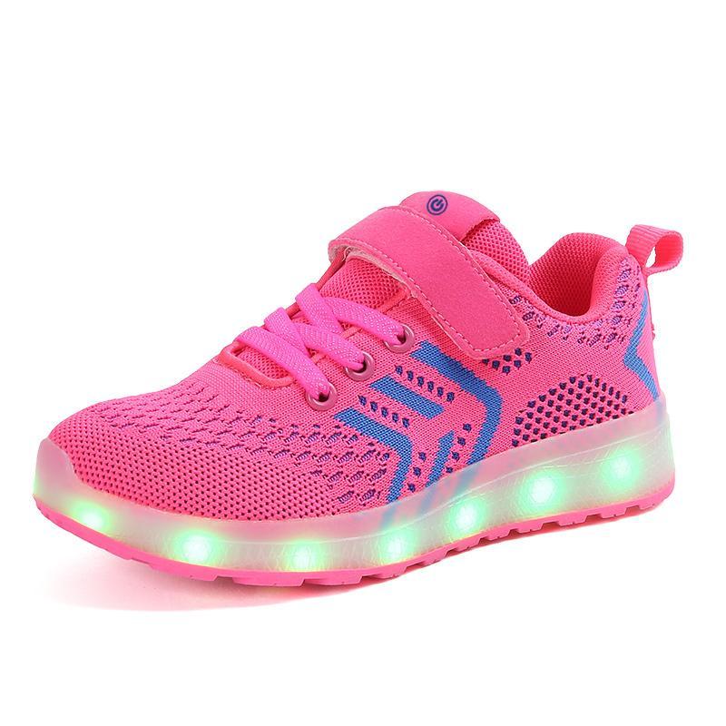 Respirant 2018 nouveau 25-37 chargeur usb rougeoyant baskets led enfants allumant chaussures garçons / filles illuminé baskets lumineux rose Y190525