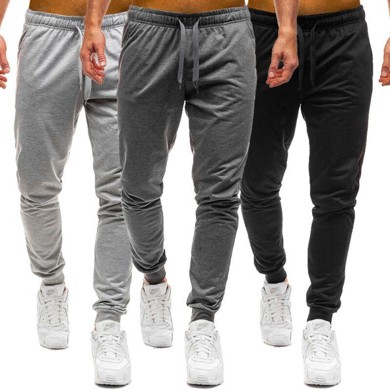 Mens adelgazan gimnasio del deporte del chándal de jogging flaco Joggers pantalones pantalones