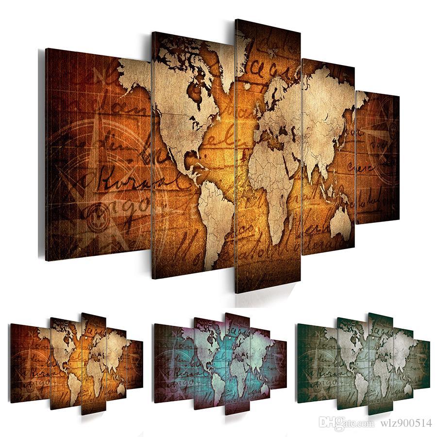 Современная декоративная живопись (Без Рамки) Печать на Холсте Современная Мода Wall Art Ретро Карта Мира для Украшения Дома Выберите Цвет Размер