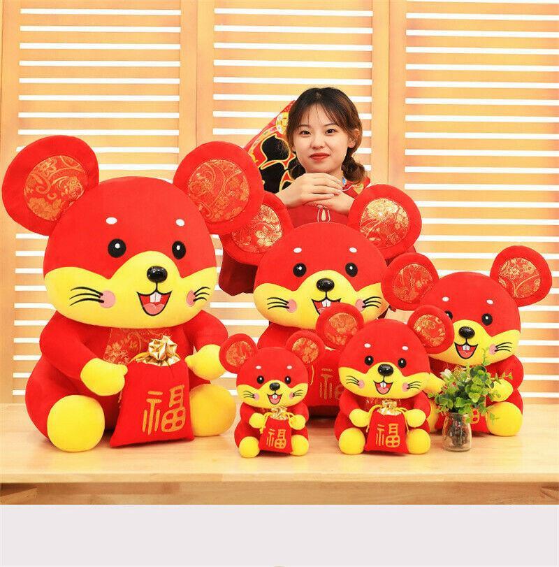 2020 Ano Novo do Rato Mascot Plush Toy Stuffed boneca do zodíaco caçoa o presente de Natal