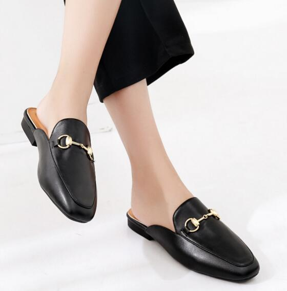 Newest Mules Princetown Genuine Leather Bucket Flip-flops Outside Slippers European Designer Fashion Lazy Loafers For Women pumps